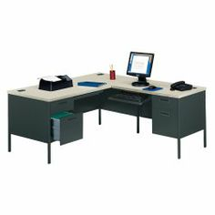 View our Steel L-Desk with Right Return, and shop our wide selection of furniture to customize your office space. All products backed by our lifetime guarantee! Corner Office, Office Table, Home Office, Corner Desk, Office Desks, Work Station Desk, Metal Desks, L Shaped Desk, Steel Furniture