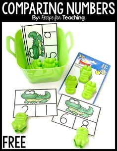 Adorable greater than and less than alligator math activity for kindergarten or early first grade! A great math activity for a zoo activity! Kindergarten Math Activities, Numbers Kindergarten, Preschool Math, Math Classroom, Math Resources, Math Games, Envision Math Kindergarten, Classroom Ideas, Maths Eyfs