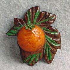 VINTAGE BAKELITE ORANGE GROVE PIN WOOD GREEN LEAVES RAISED BROOCH ART DECO 3-D | eBay