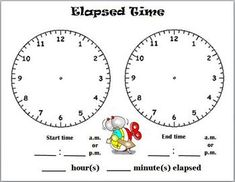 Print on cardstock and laminate or slide into a page protector for use with dry erase markers for whole group practice on telling time and determining elapsed time. Fourth Grade Math, Third Grade Math, Math Lesson Plans, Math Lessons, Teaching Time, Teaching Math, Math Resources, Math Activities, Math Blocks