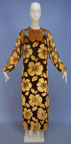 Voided velvet evening dress, James Galanos, 1970's.