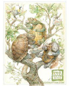 Trois arbres tortues prenant thé (imprimé) Omar Rayyan