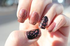 Spiderweb Manicure - Lyn B Designs Shadow on the Moon and Zoya Raven