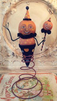 Folk Art One of a kind Halloween PUMPKIN Primitive Jack o