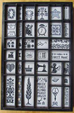 Letterbak borduren Small Cross Stitch, Cross Stitch Charts, Cross Stitch Designs, Cross Stitch Patterns, Blackwork Embroidery, Baby Embroidery, Cross Stitch Embroidery, Letterpress Drawer, Print Box