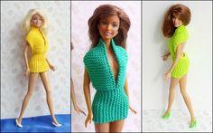 Strickanleitung - Kurzes rückenfreies Sommerkleid für Puppen