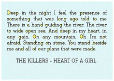 The Killers - Heart Of A Girl, one of my favorite songs ever