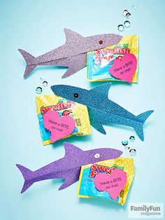 These sparkly shark #valentines are sure to make a splash!