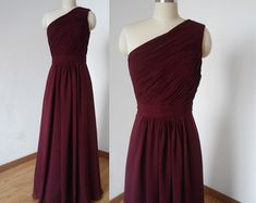 Halter Sweetheart Burgundy Chiffon Long Bridesmaid by DressCulture