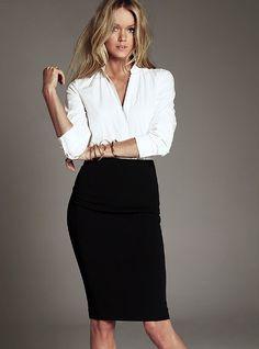 white blouse + black pencil skirt