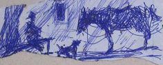 "Juan José Montans ""Boceto de gaucho mateando"" Tinta sobre papel 4 x 10 cm.  http://www.portondesanpedro.com/ver-producto.php?id=11832"
