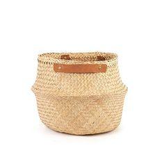 Leather Handled Belly Basket - Natural Large