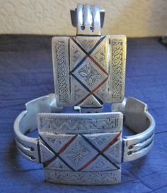 Pair of Tuareg Silver with Enamel Anklets or by TuaregJewelry