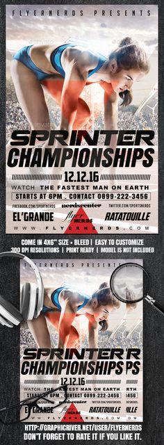 Sprinter Athletic Championships Sports Flyer — Photoshop PSD #marathon event #flyer • Download ➝ https://graphicriver.net/item/sprinter-athletic-championships-sports-flyer/18884150?ref=pxcr