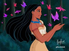 Pocahontas with beautiful butterflies