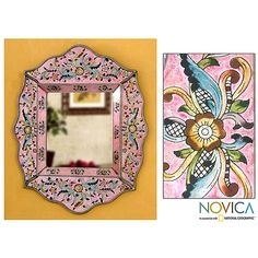 Floral blossoms dance amid golden foliage on a lovely pink wall mirror. Handcrafted by Asunta Pelaez, the motifs are painted on the reverse side of glass panes to surround the mirror with clear colors.