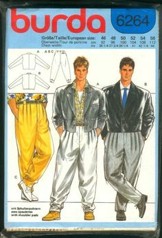 Um, Hey Beiber, you can have your mom make you these!  Mid-1980s men's fashions - great Burda pattern.