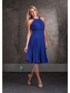 Black Friday Knee-length Pleated Bodice Halter Neck Chiffon Bridesmaid Dress Sale