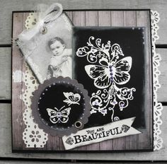 Stempelglede :: Design Team Blog:  Handmade card. Rubber stamps used for this project: Vintage Baby, Post Card from Paris and Follow your Heart stamp sets. 2014 © Pia Baunsgaard