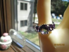 Vintage Designer 3.85ctw Amethyst Mystic Topaz Sterling Silver 925  Ring Sz. 7, Wt. 4.4 Grams