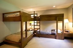 Classic Wood Double Bunk Beds with Stairs Furniture Sets in Small Bedroom Interior Decorating Design Ideas