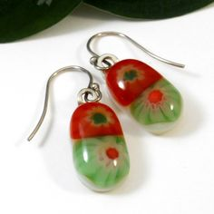 Fused Glass Millefiori Flower Earrings, Green and Orange Red OOAK | ResetarGlassArt - Jewelry on ArtFire