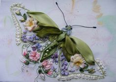 I ❤ ribbon embroidery . . . Butterfly- Gallery of artwork, - the gallery works, silk ribbon embroidery ~By Album: Nina Lazareva