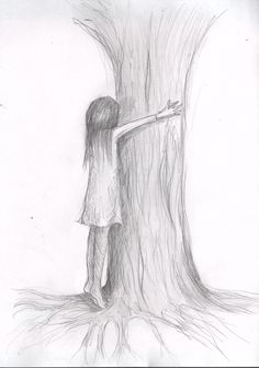 wrong turn - by Caranfinwen  #tree #alone #hug #treehugger #shame #nature #pencil