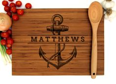 Anchor Chopping Block Trending Now Birthday Gift Bath Tray Foodie Gift Engraved Cutting Board, Personalized Cutting Board, Cutting Boards, 60th Birthday Gifts, Birthday Crafts, Mom Birthday, Custom Wedding Gifts, Personalized Wedding, Personalized Gifts