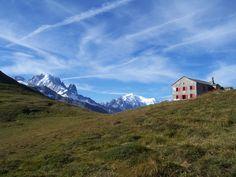 Aiguille Verte, Mont Blanc and Refuge Col de Balme (Tour du Mont Blanc, Switzerland France Alps)