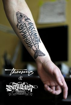 theosone: My first tattoo finally… It's hard to design for myself, but magic hands of Yvonne Heartmann from Dirty Lust studio calmed me down. calligraphi.ca - ars longa, vita brevis. memento mori - theosone design, inked by Yvonne Heartmann - theosone
