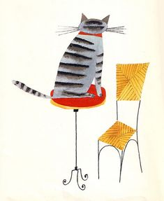 """Illustration of a cat by Miroslav Sasek from """"This is Paris"""""""