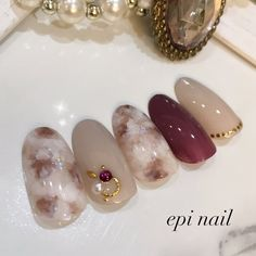 Autumn / Winter / Office / Bridal / Hand-Fuji City, Shizuoka Prefecture, Nail Design of Epi Nail Nail Tip Designs, Marble Nail Designs, Japanese Nail Design, Japanese Nail Art, Office Nails, Exotic Nails, Gel Nails At Home, Nail Art Videos, Trendy Nail Art