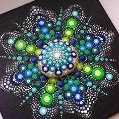 Original Dotart Green Mandala Painting on by CreateAndCherish