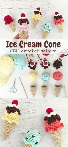 What an adorable Ice Cream Cone crochet pattern! Perfect play food amigurumi to make for any kid! Such a sweet handmade gift idea!  #etsy #ad #toy