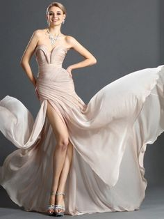 Chiffon V-neck Sweep Train Sheath/Column with Split Front Ball Dresses #PLS020104159