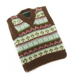 Free Knitting Pattern - Phone, Tablet & Laptop Covers: Tablet (iPad) Fair Isle Tech Vest