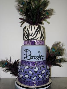 Sweet 16 Cake This cake was made for a girl's sweet 16 birthday party. Peacock Foods, Peacock Cake, Peacock Theme, Sweet 16 Birthday Cake, Birthday Cake Girls, 16th Birthday, Birthday Cakes, Sweet Sixteen Cakes, Sweet 16 Cakes