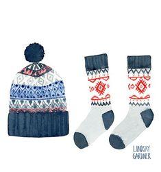 Illustration - illustrated Christmas hat & sock set by Lindsay Gardner -