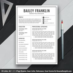 Teacher Resume Template MS Word, Simple and Modern Resume Template Design, Professional CV Template, 2 and 3 Page Resume, Cover Letter and References Template