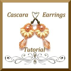 Pdf Tutorial Cascara Earrings Beadwork, Seed Beads, Super Duo Beads, Pattern