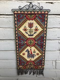 Vintage Swedish Embroidered Wall Hanging with Hardware / Tapestry / Art / Decor / Hand Made Twist Stitch Embroidery / Scandinavian /Folk Art by SwedeFinds on Etsy Scandinavian Folk Art, Needlepoint Pillows, Tapestry Wall Hanging, Rug Hooking, Embroidery Stitches, Cross Stitch Patterns, Art Decor, Bohemian Rug, Hardware