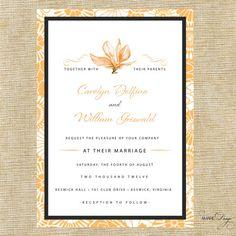 Orange Floral Wedding Invitation Suite Deposit by AmareDesign, $100.00
