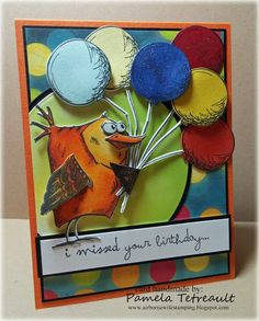 "airbornewife's stamping spot: ""i missed your birthday..."" Crazy Birds ~ Things & Talk card"