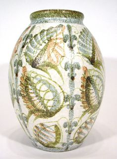 Large Denby stoneware vase painted with leaves