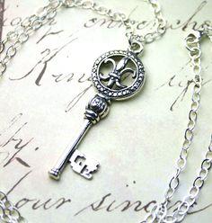 Vintage Fleur-de-Lis Key Pendant