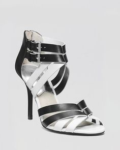 MICHAEL KORS CAMMIE BLACK/WHITE LEATHER OPEN TOE HEELS SANDALS SHOES SIZE 7 NEW  #MichaelKors #OpenToe Killer Heels, Michael Kors Shoes, High Heels Stilettos, Shoe Dazzle, White Leather, Me Too Shoes, Open Toe, Fashion Shoes, Shoes Sandals