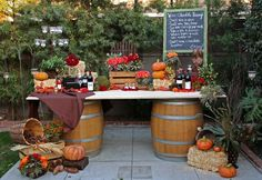 Fall table decorations w/wine barrels