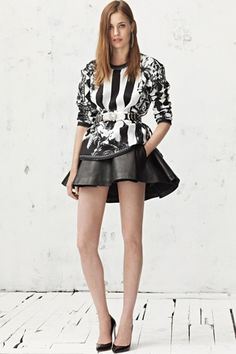 LOVE this black and white combination complete with skater skirt silhouette  Balmain resort '13