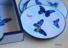 """набор подставок под чашки из коллекции """"Синие бабочки"""". Декупаж"""